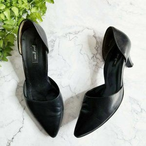 Paul Green Julia Black Leather D'Orsay Kitten Heel